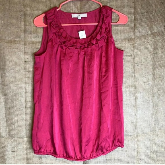 LOFT Tops - Ann Taylor LOFT Blouse SZ XS Sleeveless Ruffle NEW